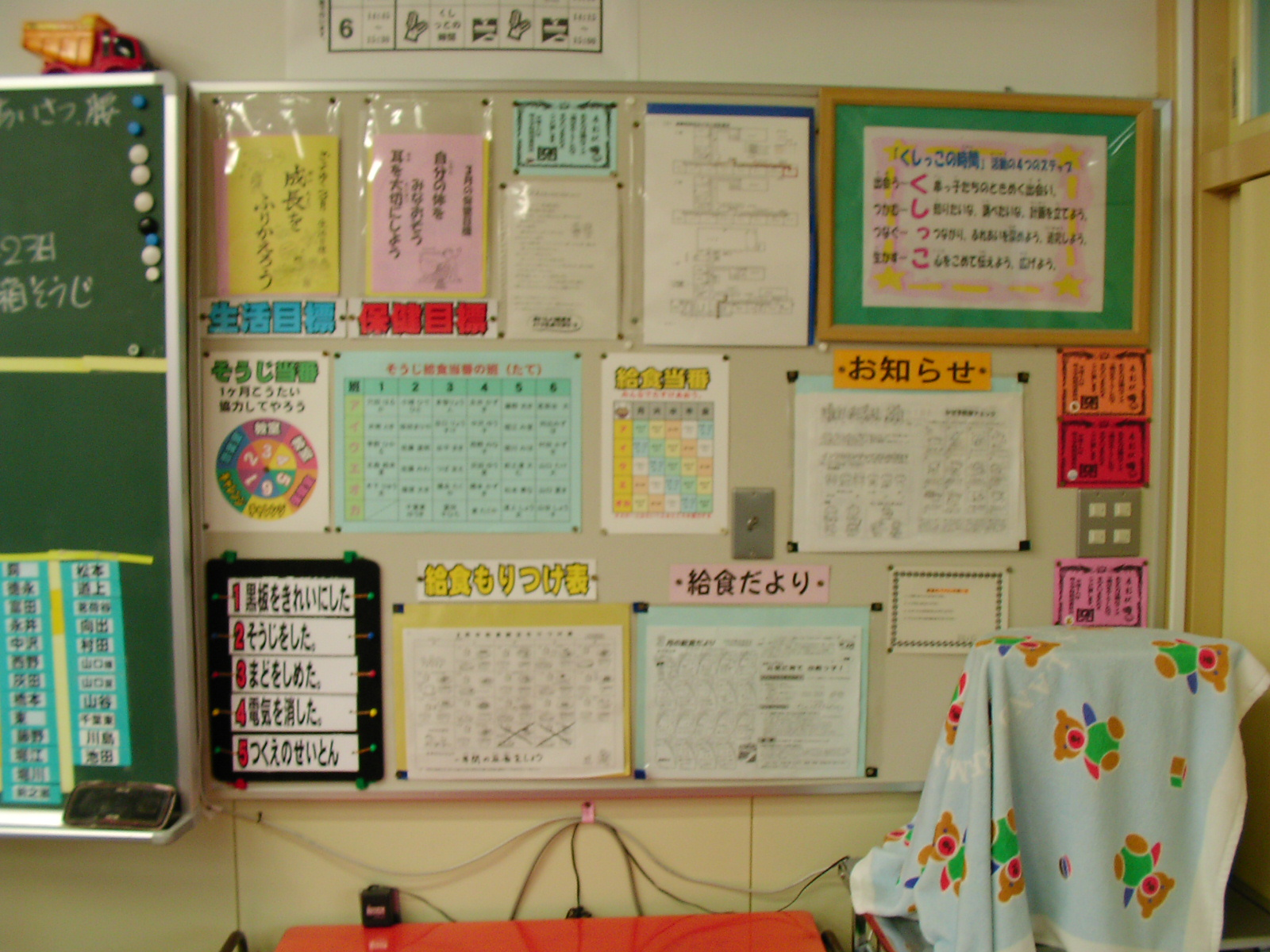 SANY0085.JPG: 教室の掲示物 ... : 漢字表 1年生 : 漢字